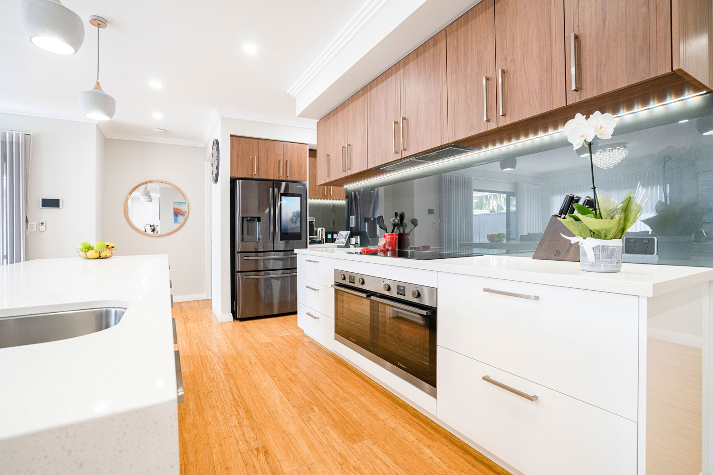 custom kitchen with bamboo flooring
