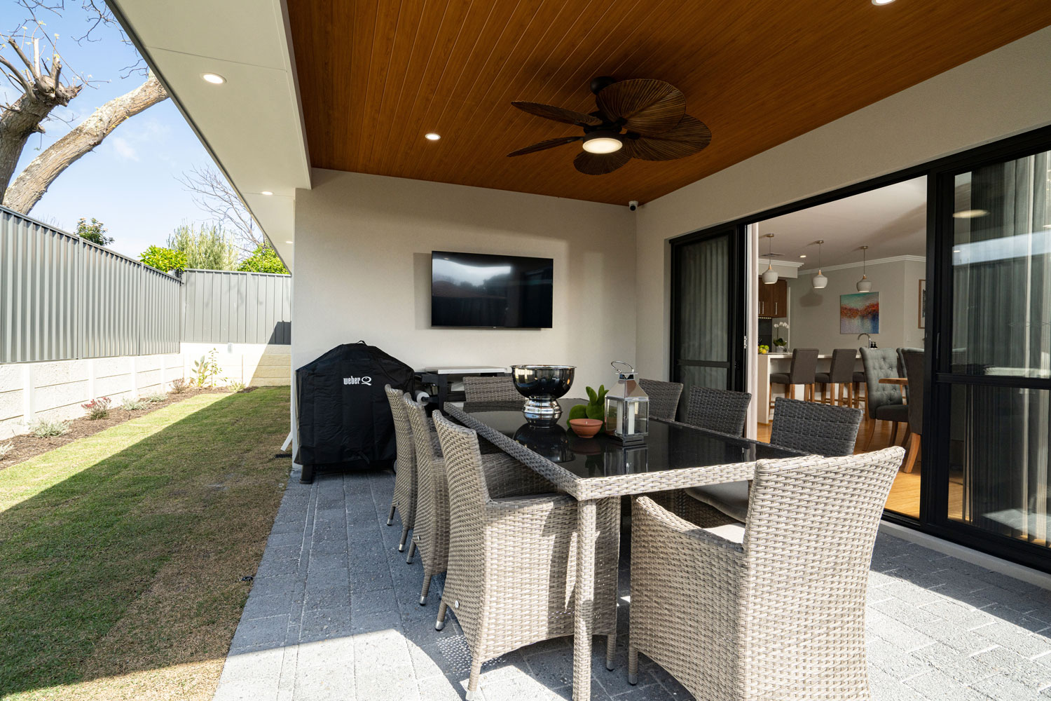 alfresco with wood panelled roof